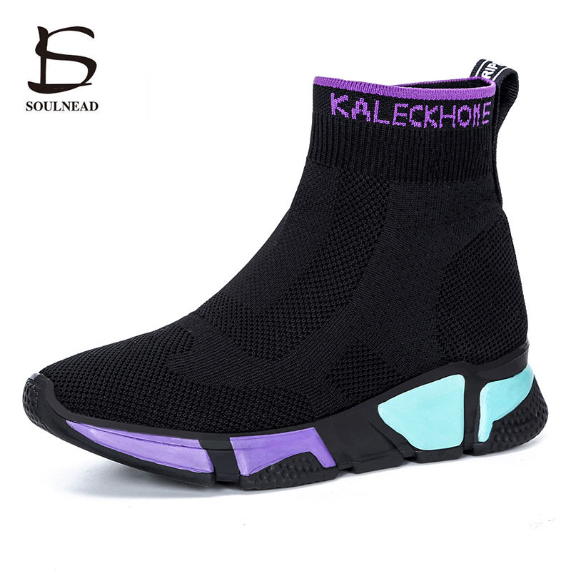 Women's Knitted Breathable Socks Shoes Woman High Top Shoes Running Shoes Female Sports Shoes Unisex Breathable Mesh Sneakers