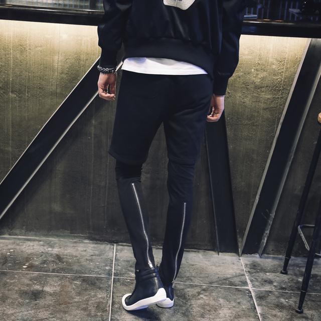 2017 Nuevo Falso de Dos Piezas Para Hombre Casual Pantalón Basculador Wsweatpant Cremallera Diseño Calle Hiphop Hombres Harem Pant Pantalones Largos