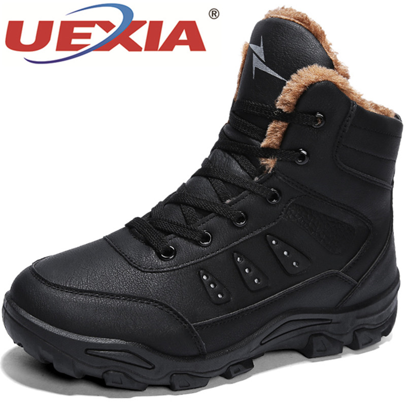 UEXIA Shoes High Quality Men Winter Shoes Plush Fur Lace up Men Boots Winter Ankle Boots Sneakers Outdoor Snow Boots Men Shoes winter snow boots brand ankle genuine leather boots fashion men winter shoes fur plush lace up high quality warm boots shoes men