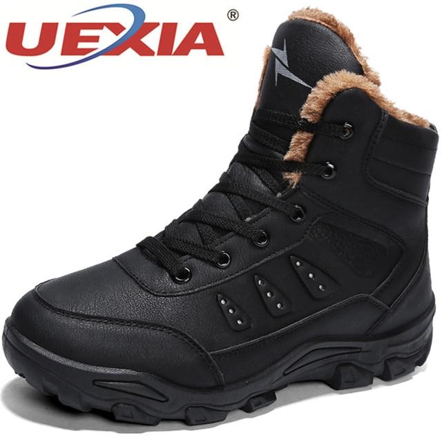 UEXIA 靴高品質男性の冬の靴豪華な毛皮レースアップ男性ブーツ冬のアンクルブーツスニーカー屋外雪のブーツ男性靴