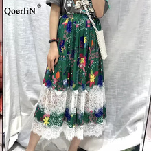 QoerliN Vintage Lace Patch Skirts Women 2019 Summer Green Printed Elastic Waist High Hollow Out Black Beach Lady