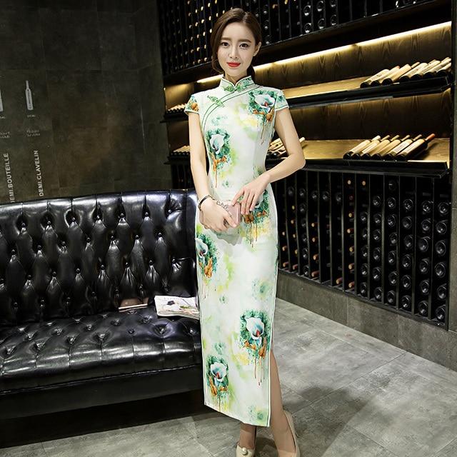 Traditional Chinese Long Dress Evening Dress Qipao Plus Size Vintage Summer Short Sleeve Wedding Cheongsam S M L XL XXL