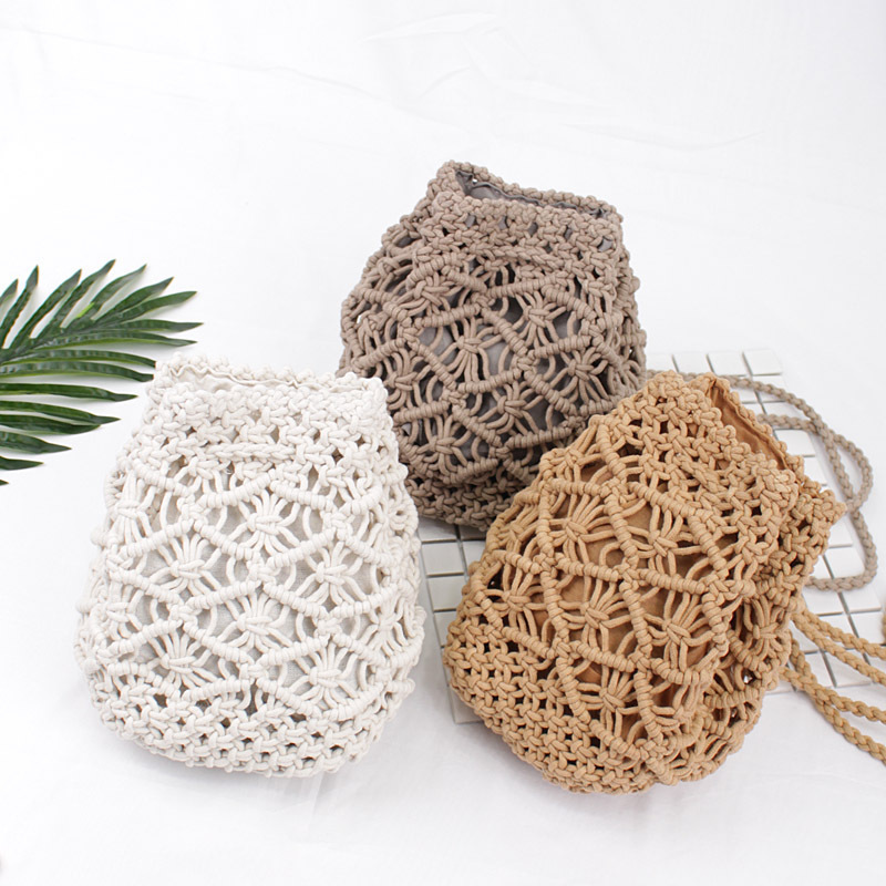 Vintage Woven Backpack Cotton Rope Bucket Small Straw Bag Vacation Travel Mini Fresh Backpack Hand-woven Bags