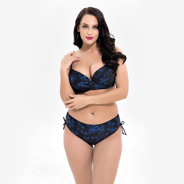 ce964fefae6 Women s Swimwear Large Size Swimsuit for Fat Female Women Plus Size Bikini  Big Cup Chest 2018 Bather Beachwear Push Up Bikinis