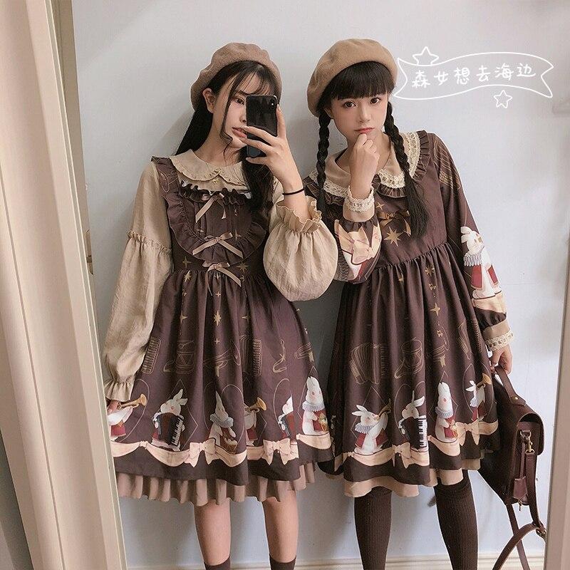 Cute Lolita Dress Rabbit Print Women's Autumn Long Sleeve High Waist Knee Length Vintage Dress Kawaii Girls OP JSK Dress 3color