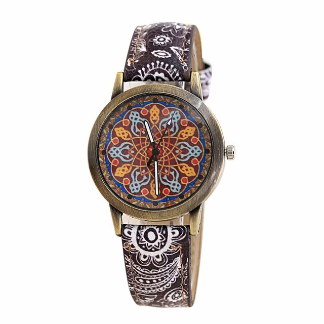 Bohemia Pu Leather Band Watch Woman Bracelet Watches Cretive Round Dial Design A