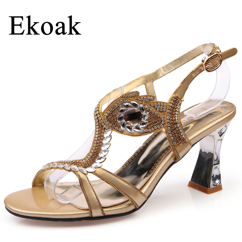 Ekoak New Summer Gladiator Sandals Fashion Rhinestone Ankle Strap Women Sandals Ladies Sexy High Heels Dress Party Shoes Woman 2016 summer medium strange rhinestone heels women suede sandals ankle buckle leopard print high quality ladies sexy dress shoes