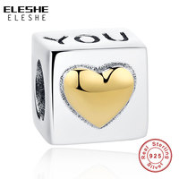 Valentine S 925 Sterling Silver Charm Cube I LOVE You Beads Fit Original Pandora Bracelets With