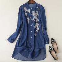 2018 autumn Vintage Flower Embroidery Tencel Denim Long Women Blouse Shirts o neck Long Sleeve Plus Size Tops