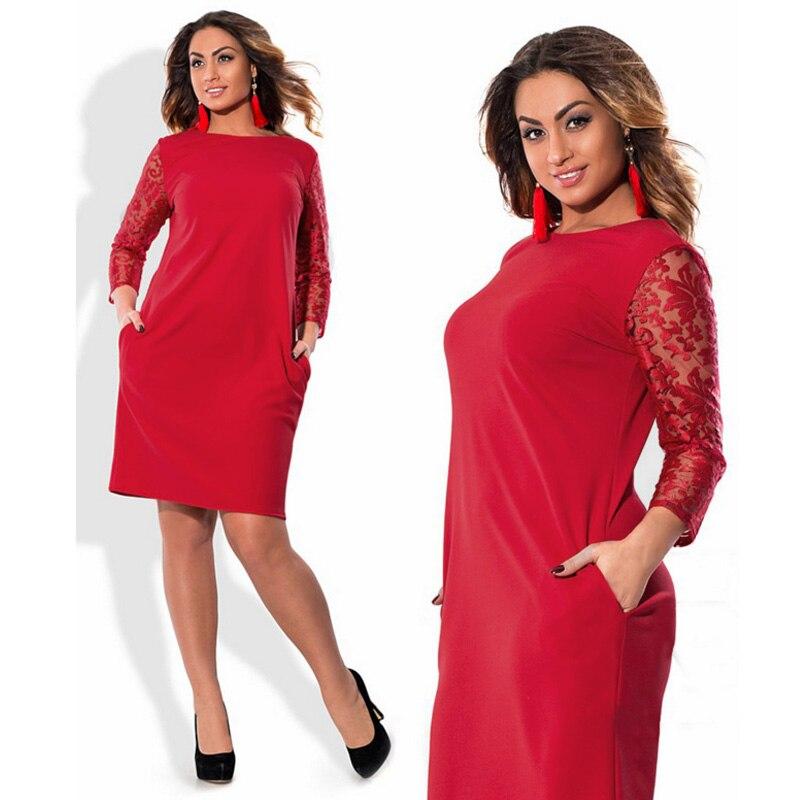 Buro Frauen KLEIDUNG robe Vintage HERBST kleider plus grobe 6xl ...