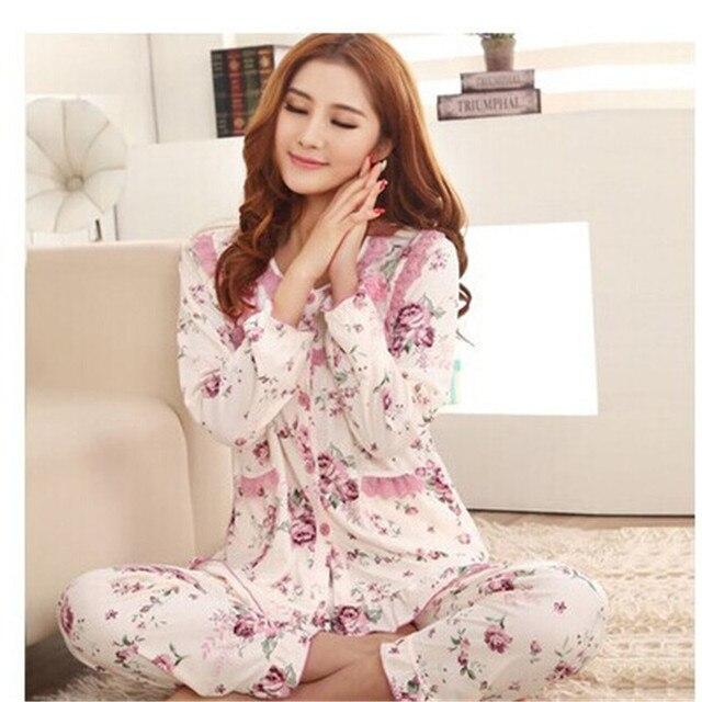 Pijamas Женщины Осень Цветок Кружева Края Кардиган Кнопки Передней Пижамы Женщин Гостиная Пижамы Наборы Плюс Размер XXL
