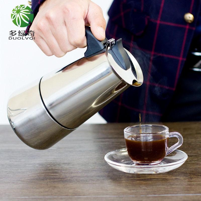 DUOLVQI 100/200/300/450ml Moka Espresso Coffee Maker Coffee Pot Percolator Tools Cafetiere Pot Cafe Cafetera espresso Moka pot