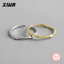 XIHA Real Pure 925 Sterling Silver Rings for Women Open Adjustable Thin Finger Ring Ladies Minimalist Jewelry f i n s sterling silver rings for women simple silver golden finger ring minimalist open adjustable ring silver 925 jewelry