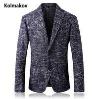 KOLMAKOV 2017 new arrival fashion single breasted Men's 70% wool suit blazer,Winter thick woolen jackt blazers coat men ,S 4XL