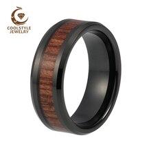 8 мм черное обручальное кольцо из вольфрама кольцо для мужчин и женщин с природой Koa Padauk деревянная инкрустация удобная посадка