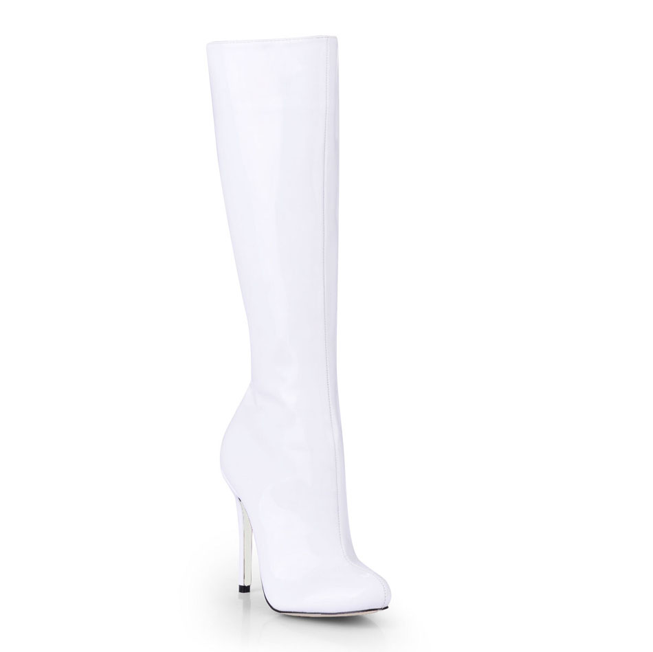 2016 Winter White Sexy Party Shoes Women Round Toe Stiletto High Heels Ladies Concise Knee-High Boots Zapatos Mujer 0640cbt-b12