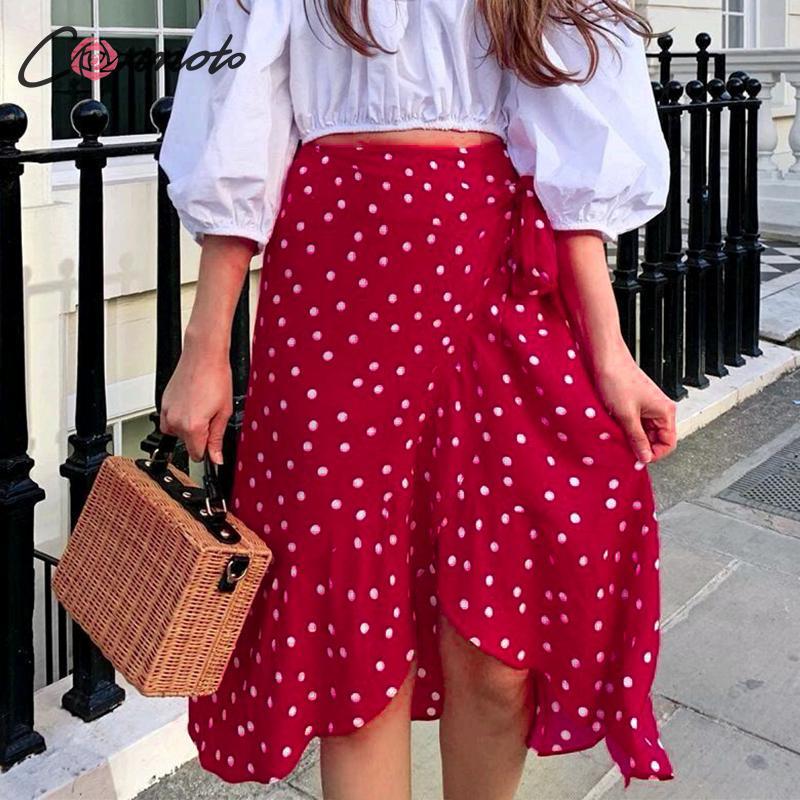 Conmoto Women Fashion Red Polka Dot Wrap Skirt 2019 Summer Casual High Waist Ruffle High Waist Midi Skirt Female Holiday Skirts