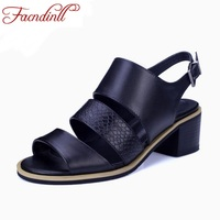 FACNDINLL Brand Design Open Toe Ankle Strap Women Sandals Thick Heel Summer Black Dress Shoes Fashion