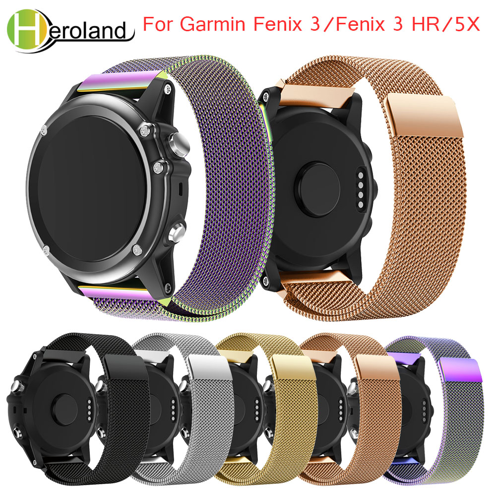 new26mm Milanese Magnetic Loop Watch band strap Replacement metal Stainless Steel magnetic for Garmin Fenix 3/Fenix 3 HR/5X band garmin fenix 3 hr steel on black