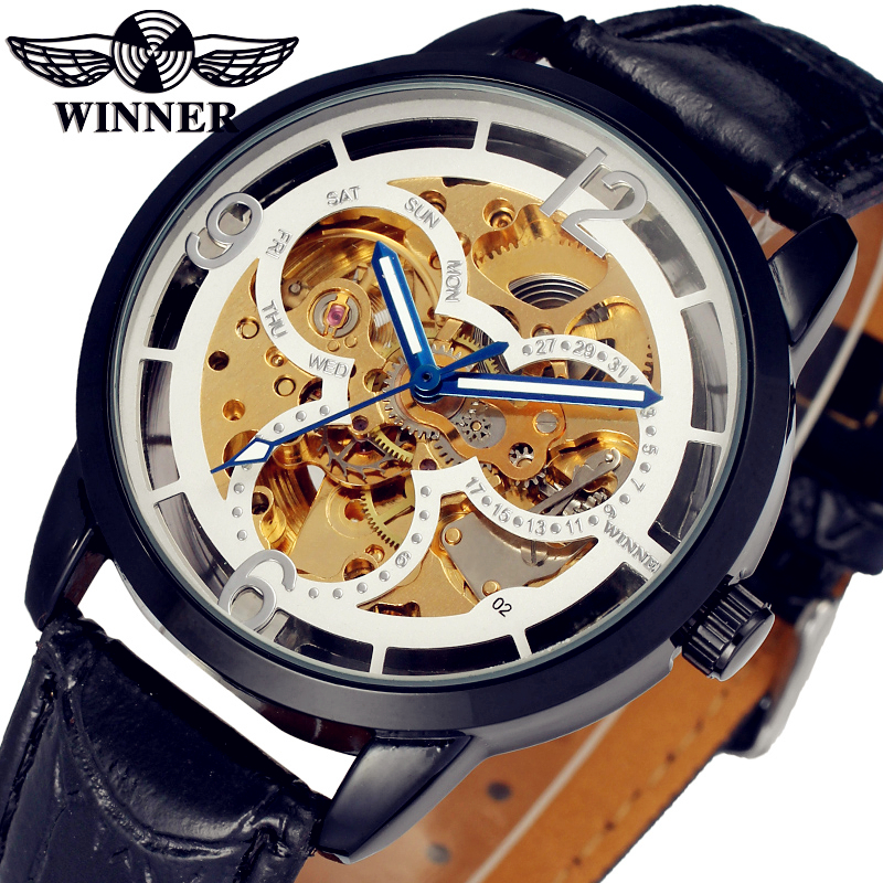 Fashion WINNER Men Luxury Brand Black Skeleton Leather Band Watch Automatic Mechanical Wristwatch Gift Box Relogio Releges 2016 2016 luxury wristwatch black leather belt male automatic watch men s sports watch black face