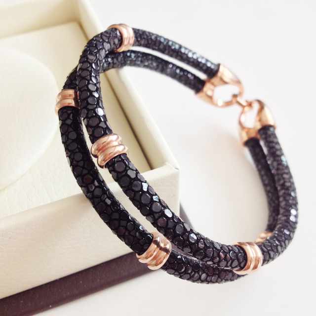 Men Brand Genuine Leather Bracelets Stingray Bracelet Navy Black 5mm Round Multilayer