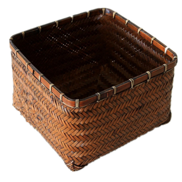 Bamboo Basket Wicker Basket Storage Box Zhukuang Carbon Cage Picnic Basket  Vintage Organizer Bread Box