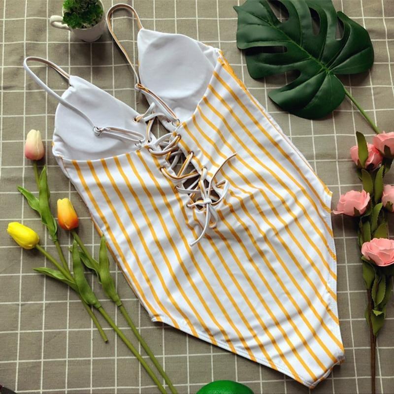 Wade Sea 2018 White Yellow Striped One Piece Swimsuit Bathing Suit Push Up Women Padded Swimwear High Cut String Monokini Female 4