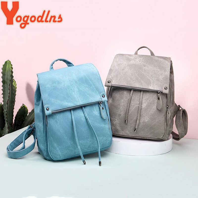 Yogodlns moda kadın İpli PU deri sırt çantaları genç kız küçük okul çantaları kadınlar yüksek kaliteli rahat sırt çantası