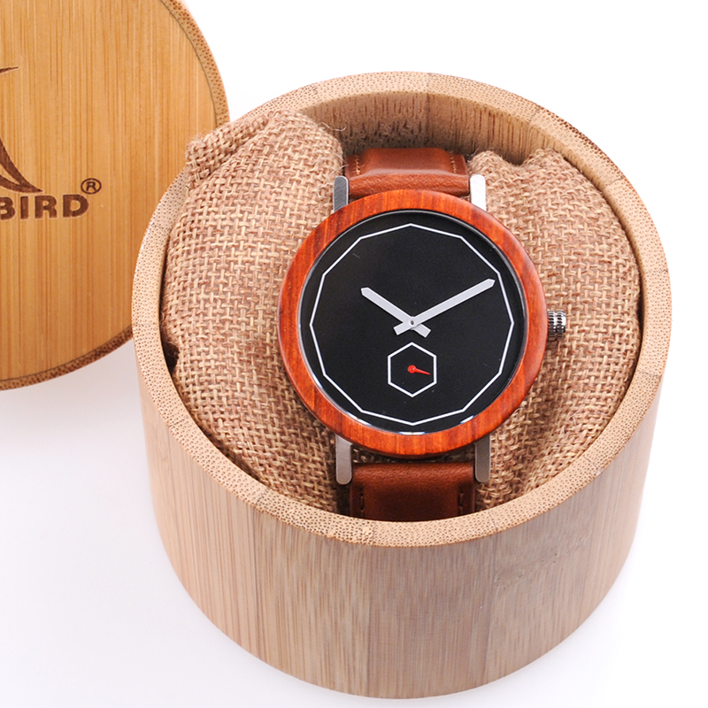 BOBO BIRD Mens Watches Unique Handmade Wood Quartz Wristwatches Male Metal back cover Leather strap in Gift wood Box Custom logo bobo bird wp30 mens womens leather band antique wood watches with simple anlaogue display in gift box
