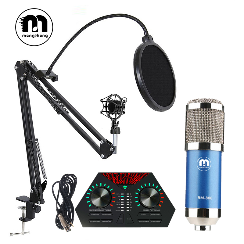 MS BM 800 Blue Usb Studio Condenser Microphone Kits for Computer Recording Microphone+Pop Filter/Stand/3.5 XLR Cable/Sound Card best quality yarmee multi functional condenser studio recording microphone xlr mic yr01
