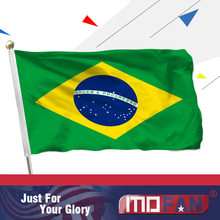 MOFAN 3X5 Foot Brazil Flag Polyester Flag - Canvas Header and Double Stitched - Brazilian National Flags Polyester 3 X 5 Ft