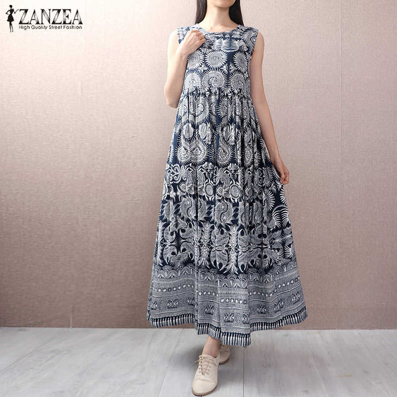 3efcf4b2d4cdf 2019 ZANZEA Women Retro Floral Print O Neck Sleeveless Loose Party Long  Dress Summer Casual Cotton Linen Tanks Vestido Plus Size