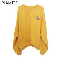 PLAMTEE Fashion Yellow Drop Shoulder Women Hoodie 2017 Crew Neck Batwing Sleeve Oversize Street Loose Sweatshirt