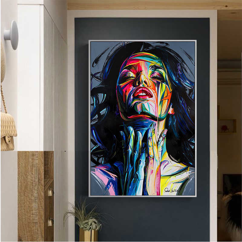 MUTU Wall Art Poster Face Oil Painting Francoise Sty Color DH Canvas Prints Abstract Canvas Paintings Picture For Living Room
