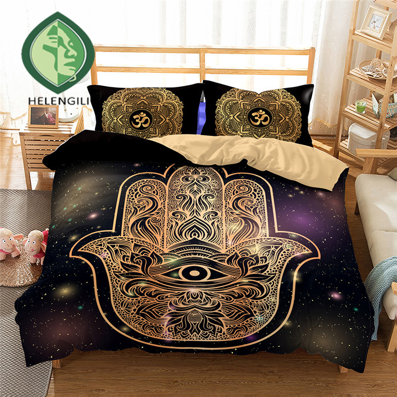 HELENGILI 3D Bedding Set Hamsa Hand Print Duvet cover lifelike bedclothes with pillowcase home Textiles #2-03HELENGILI 3D Bedding Set Hamsa Hand Print Duvet cover lifelike bedclothes with pillowcase home Textiles #2-03