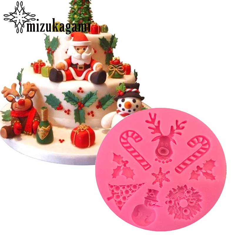 UV Resin Jewelry Liquid Silicone Mold Christmas Tree Elk Snowman Resin Charm Molds For DIY Intersperse Decorate Making Jewelry