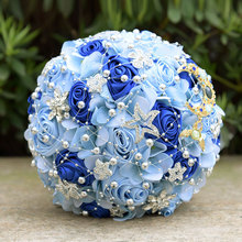 Artificial Flowers Romantic Bride Bouquet Ribbon Rose Wedding Accessories High Grade Diamond Pearl Beaded