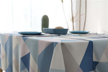 Waterproof Rectangle Dining Table Cloth Black Blue Geometric Table Cover for Wedding Party Kitchen Tablecloth Polyester Fiber