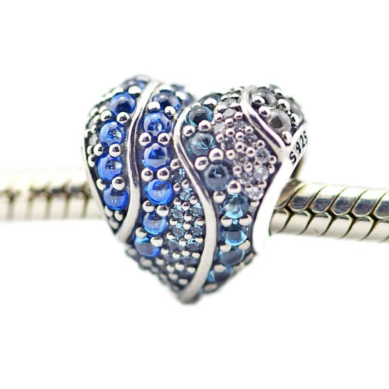 Pandulaso Aqua Heart Charm sterling silver jewelry Fit Original Bracelet & Necklace Beads for women DIY Fashion Jewelry
