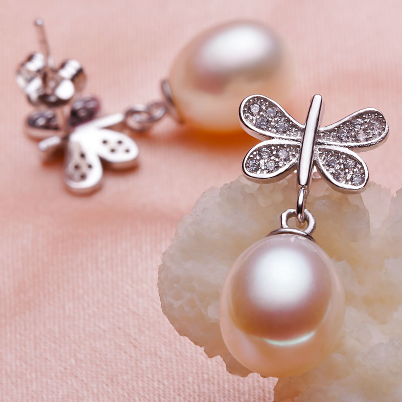 925 silver real natural big [bright pearl] natural pearl earrings, 925 Silver Freshwater Pearl Earrings, new butterfly models беседка hov white
