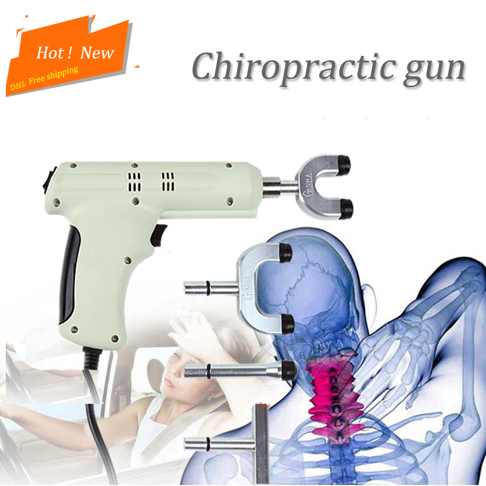Spine Chiropractic 4 Heads chiropractic adjusting instrument Electric Correction Gun Activator Massager Impulse adjuster
