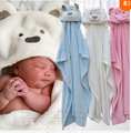The new  Cute Animal Shape Baby hooded bathrobe bath towel Baby fleece receiving blanket neonatal hold to be Children kids