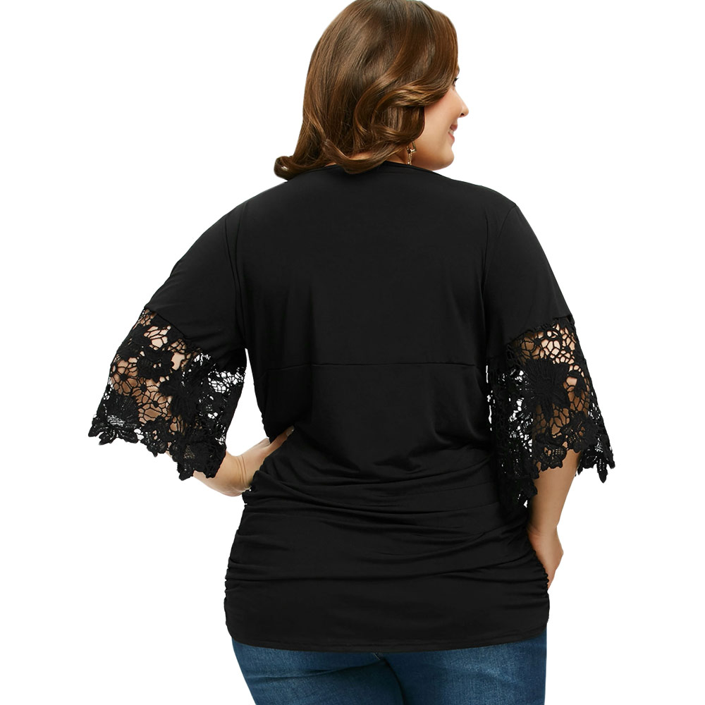 3c9270c1ecc55 Gamiss Women Plus Size 5XL Ruched Empire Waist T Shirt With Necklace Casual  Sexy V Neck Three Quarter Flare Sleeve Lace Shirts-in T-Shirts from Women s  ...