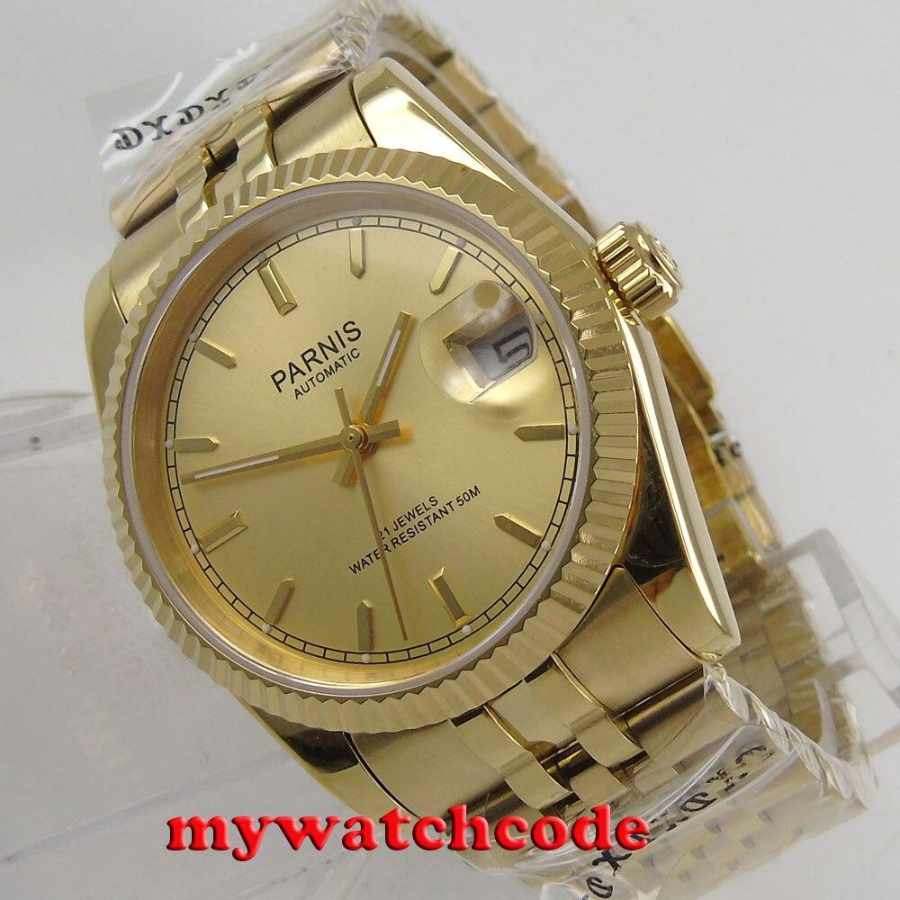 Cadran de luxe en or jaune Parnis 36mm Datejust miborough 8215 montre automatique pour homme