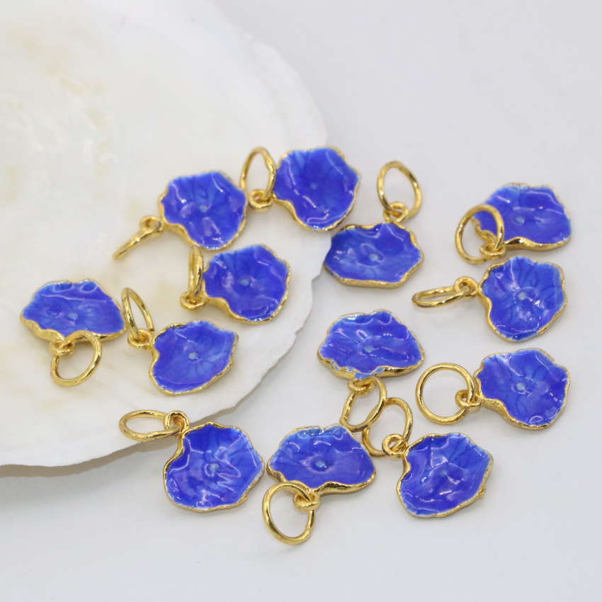 Élégant femmes   hommes 5 pcs bijoux accessoires faire charmes bleu lotus  feuille émail cloisonné perles 12 14mm livraison gratuite B2493 f63320d453f