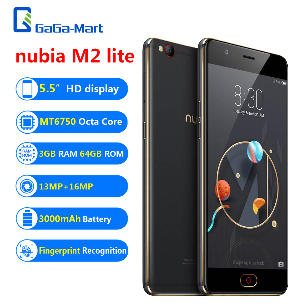 Original ZTE nubia M2 lite 4G Mobile Phone 5.5″ MT6750 3GB+64GB 13MP+16MP 3000mAh Fingerprint Recognition Smartphone Black &Gold