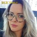 Moda Armações de Óculos de Designer de Marca Famosa Mulheres Len Claro Metade Quadro Do Gato Olho Óculos Quadro Com Óculos de Leopardo Escudo Fen