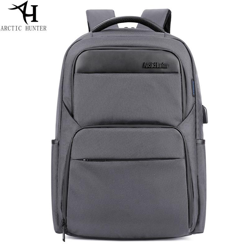 ARCTIC HUNTER Laptop Backpacks Male USB Charge backpack men Casual travel Nylon & PU leather back pack for teenage все цены