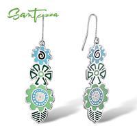SANTUZZA boucles d'oreilles pour femmes vert fleur boucles d'oreilles émail à la main pour les femmes dames bijoux de mode