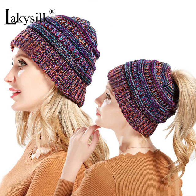 Lakysilk  New Winter Ponytail Beanie Women Fashion Hats Girls Knitted  Funny Hat Soft Warm Ladies Turban Hat Autumn d3096bcf107